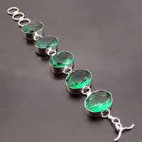 Hermosa Jewelry Charming Fashion Oval Green Topaz Peridot 925 Sterling Silver Bracelets 8 Inches 20CM Adjustable