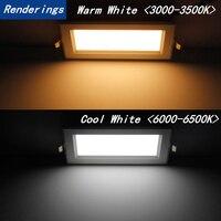 1pcs double Super Bright Recessed square LED Dimmable Downlight COB 15W LED Spot light LED decoration Ceiling Lamp AC110V 220V