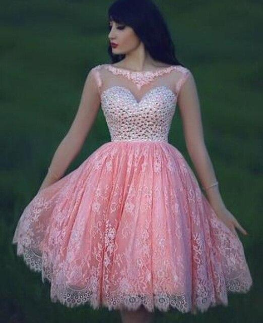 Rosa Vestidos De Fiesta de Cóctel de Encaje Vestido Más El Tamaño de ...