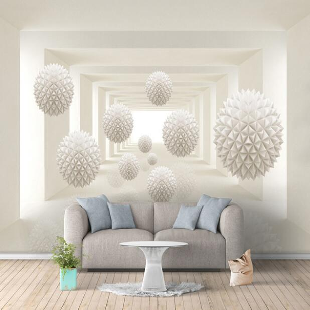 Custom 3D Photo Wallpaper Modern Simple Creative Designs Stereoscopic Space Round Ball Large Mural Wall Painting Art Wallpaper