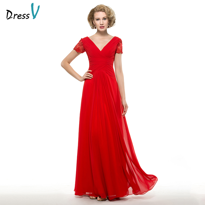 Short Sleeve Lace Wedding Dresses 2016 Chiffon Simple: Dressv Red Mother Of The Bride Dress A Line Short Sleeves