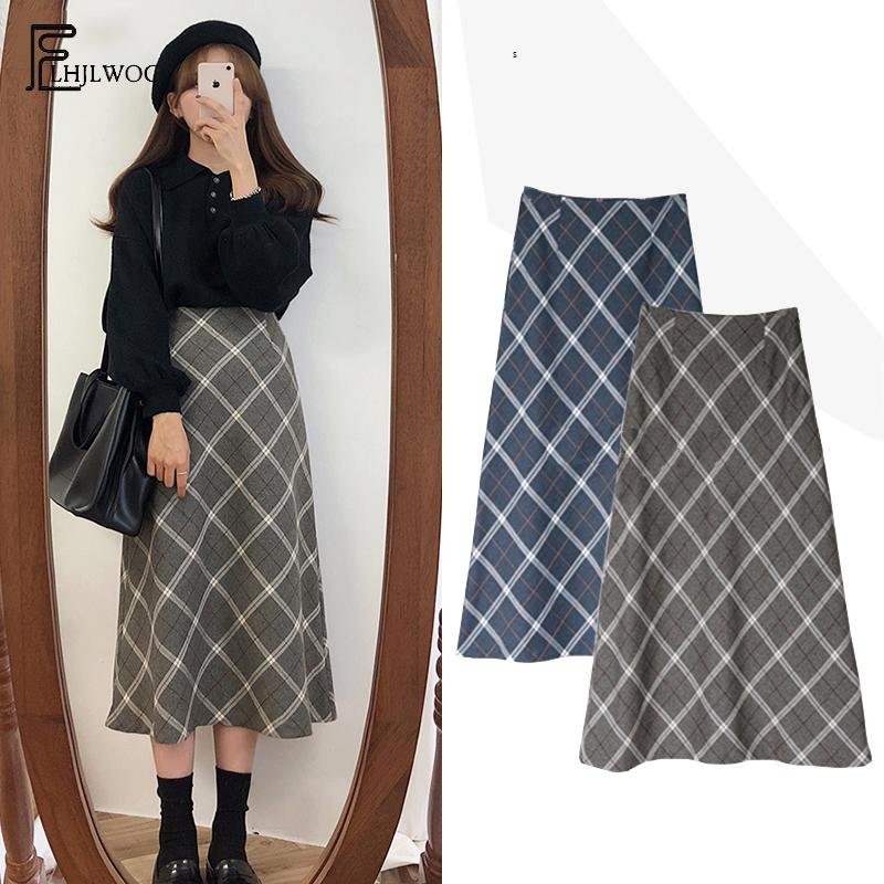 Autumn Winter Cute Skirts Long Women Hot Fashion Korean Style Design Slim A Line Blue Gray Plaid High Waist Vintage Skirts 002