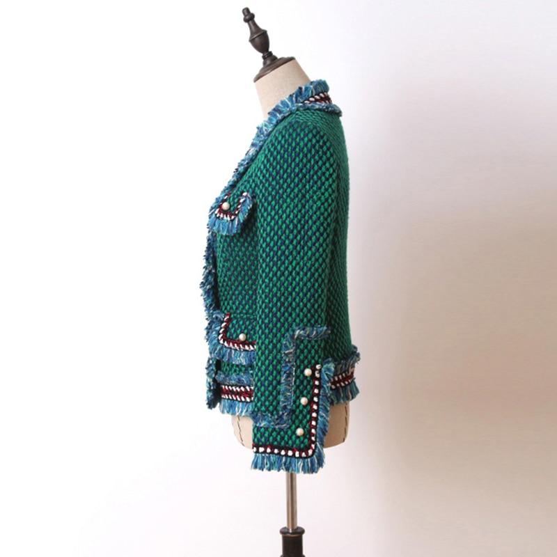 Marque Manteaux Boutons Perles Manteau Hiver Et Designer Gland Mode Femmes Vestes Tweed Manches Longues Pardessus Vert De Laine 2018 Top wPdpTFWqw