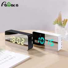 115 Color Changing LED Mirror Alarm Clock Digital Snooze Table Clock Date Temperature Display Alarm Clock with USB Charging Port