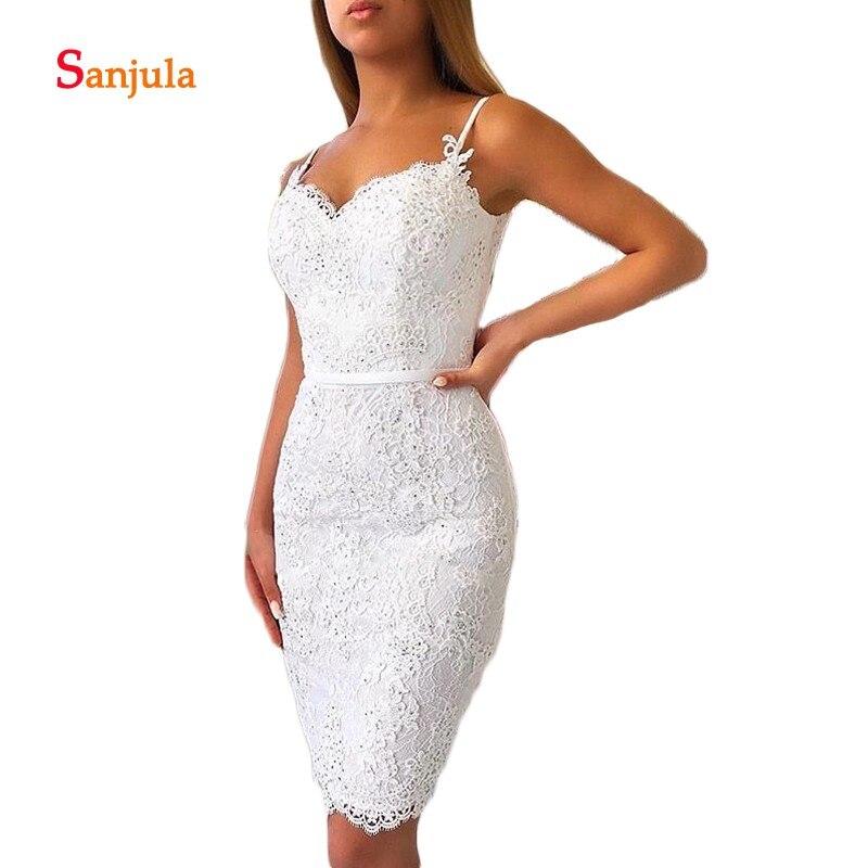 Bretelles Spaghetti gaine blanc robes de Cocktail longueur genou robes de soirée dentelle robes formelles sukienka koktajlowa D736