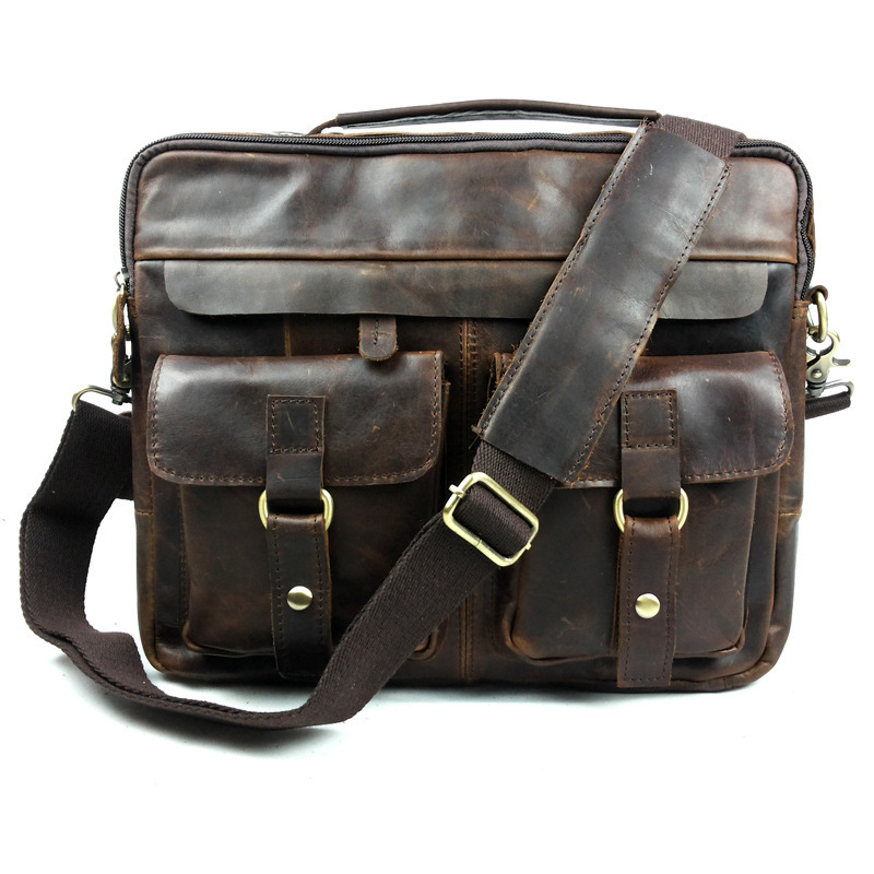 ФОТО Promotion High Quality 100% Guarantee Crazy Horse Real Genuine Leather Cowhide Men Vintage Messenger Bags Briefcase Portfolio