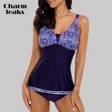 Charmleaks Women Tankini Set Female Swimwear Floral Print  Adjustable Stripe Swimsuit Bathing Suit Bikini