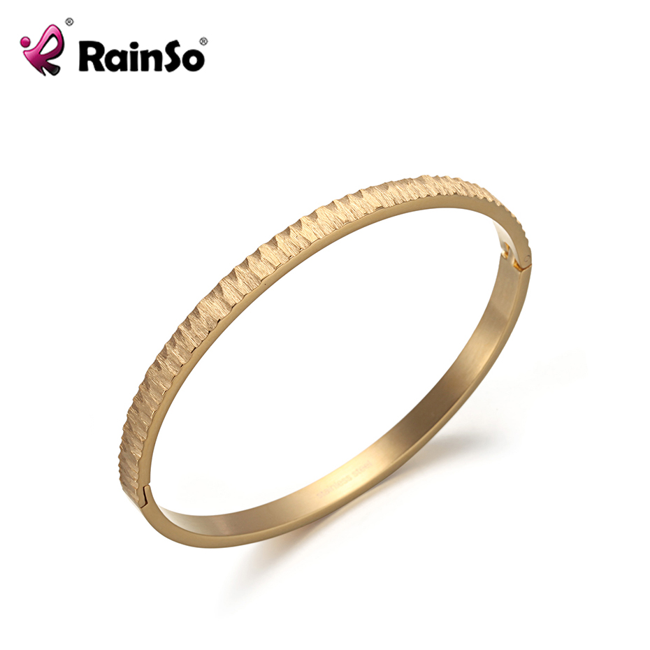 Rainso 316L Stainless Steel Hinge Bangle for Women Crag Design in IP Gold Color Bangles High Quality Fashion Jewelry 2019 New