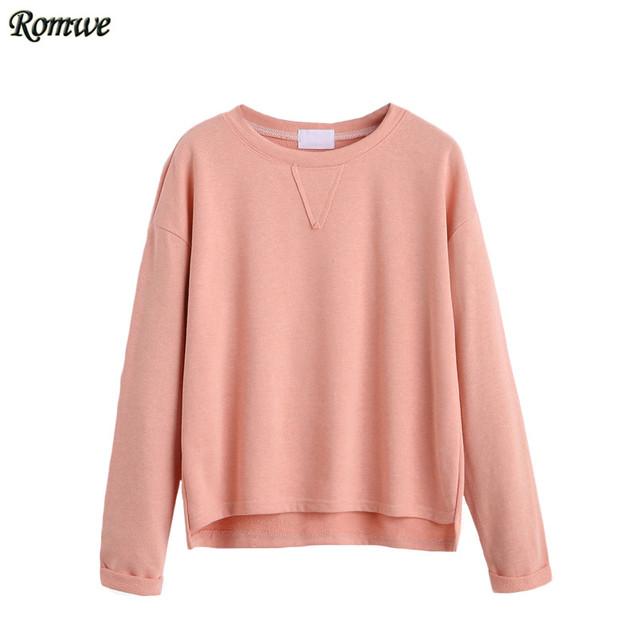ROMWE Tee Shirts Casual Para Mujeres Otoño Llanura Rosa Cuello Redondo de Manga Larga Caída Del Hombro Alto Bajo Dobladillo de La Camiseta