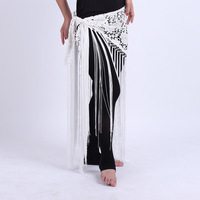 Hand Made Belly Dance Clothes Women Dancewear Flowers Long Fringe Hand Crochet Triangle Belt Belly Dance