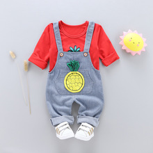 цена на 2019 Spring Baby Girls Boys Clothes Set for Casual Denim Overalls Fruit Pineapple Long Sleeve T-shirt Children's Clothing Suit
