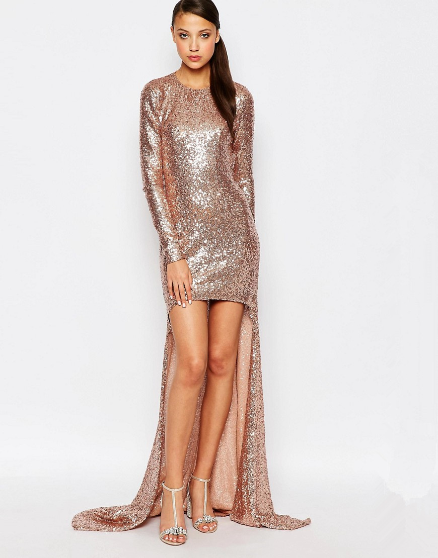 Rose Gold Bridesmaid Dress 2017 Long Sleeves High Low Sequined ...