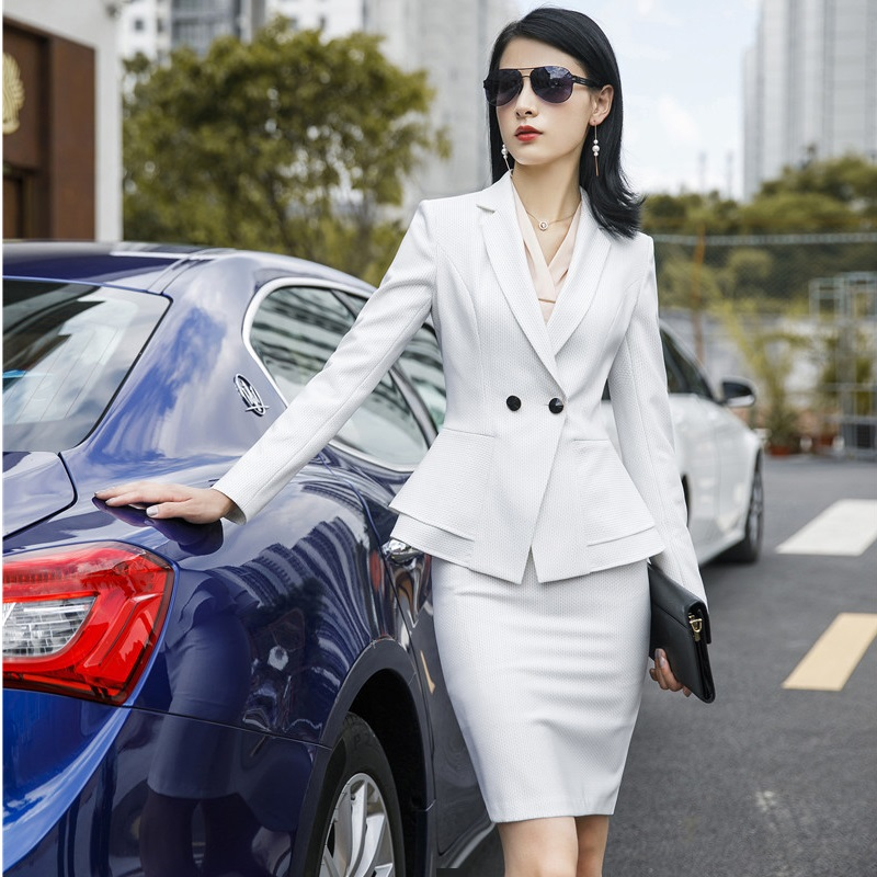New Fashion White OL Styles Slim Women Business Suits With Jackets And Skirt For Ladies Office Professional Blazer Sets