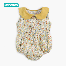 Medoboo Summer Fashion Baby Jumpsuit Romper Newborn Floral Sleeveless Collar Infant Bodysuits One-Pieces Cotton 30