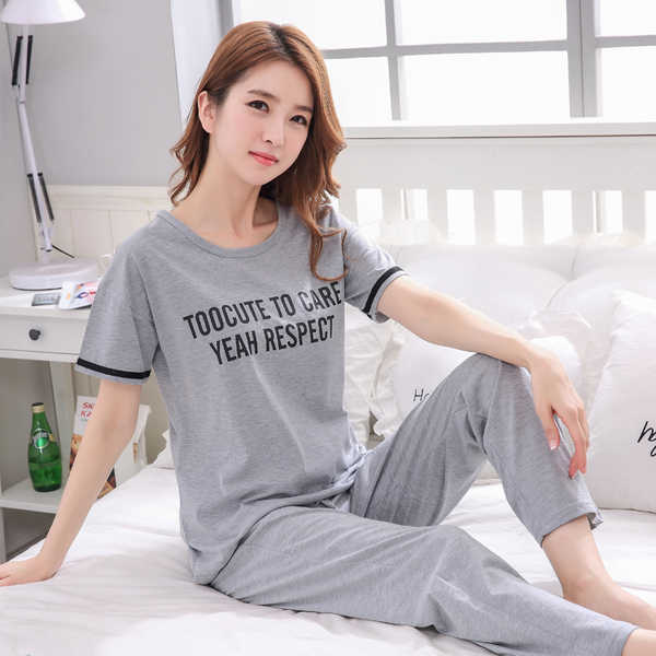 New Spring autumn Women letter Sleepwear long Sleeved gray Pajamas Sets  Sweet Girl Loungewear femme Round 860473507