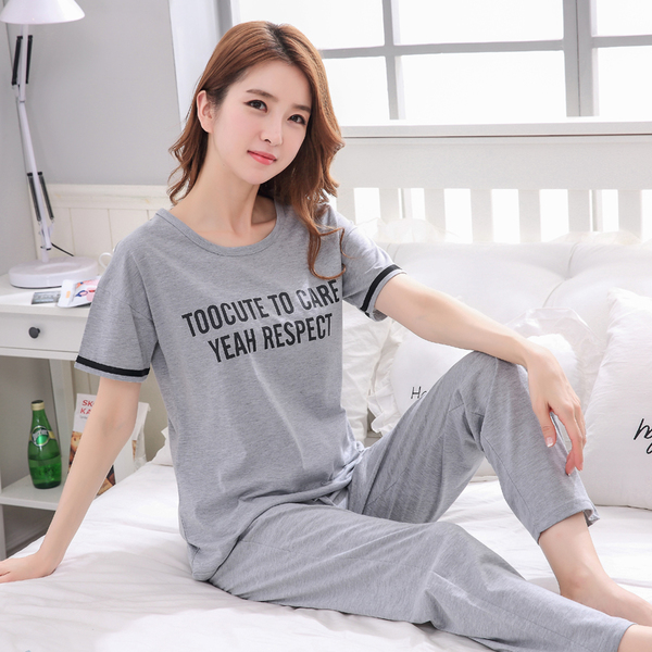 New Spring autumn Women letter Sleepwear long Sleeved gray   Pajamas     Sets   Sweet Girl Loungewear femme Round Neck home Clothing