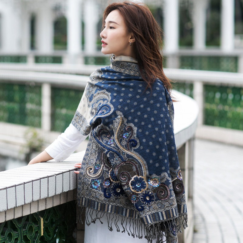 high quality Bohemia handmade flowers dark blue embroidery beaded pipe sequins wool scarf Shawl size 70