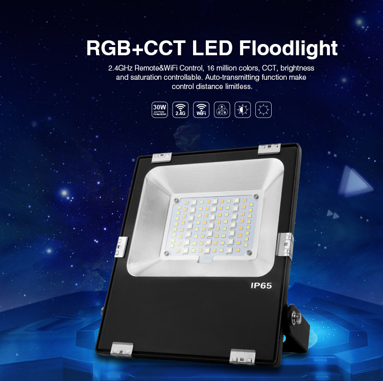 Mi Light 30W LED Floodlight IP65 AC85-265V Waterproof RGB + CCT LED Flood Light For Outdoor Lighting Free shipping 2017 ultrathin led flood light 70w cool white ac110 220v waterproof ip65 floodlight spotlight outdoor lighting free shipping