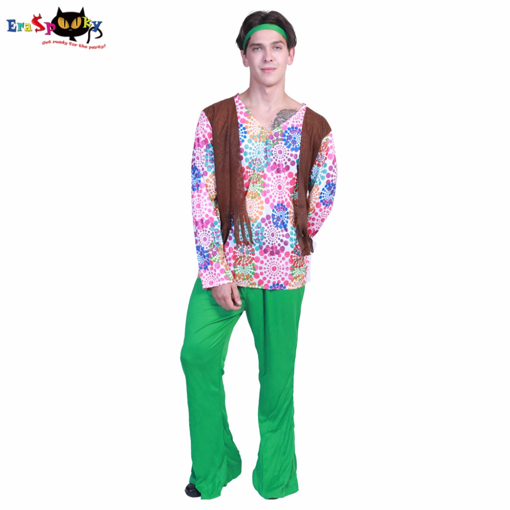Eraspooky halloween costume for men hippie costume adult cosplay costume coat pants and headband set party carnival costume