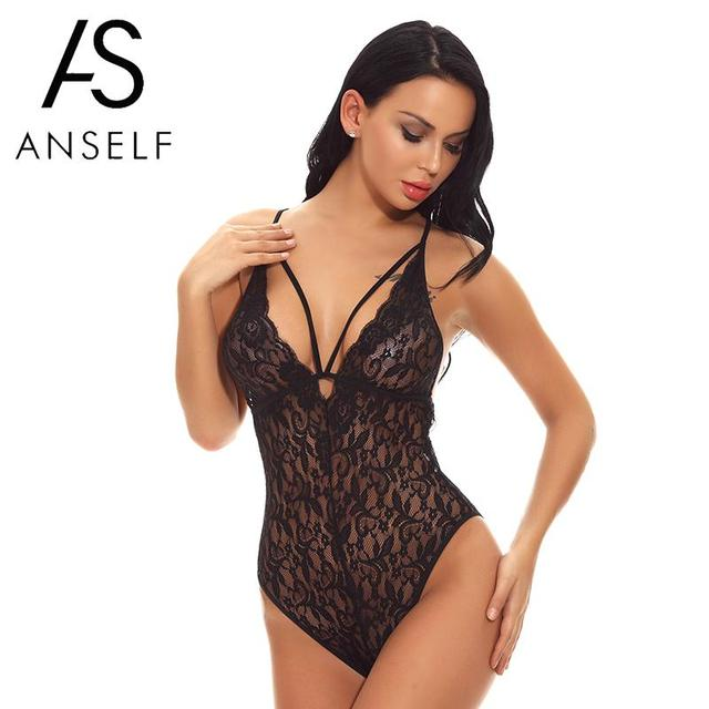 87fc6849b7e Anself Sexy Women Lingerie Bodysuit Sheer Lace Hollow Out V Neck Backless  Erotic Bodycon Jumpsuit Short Babydoll Teddy Nightwear