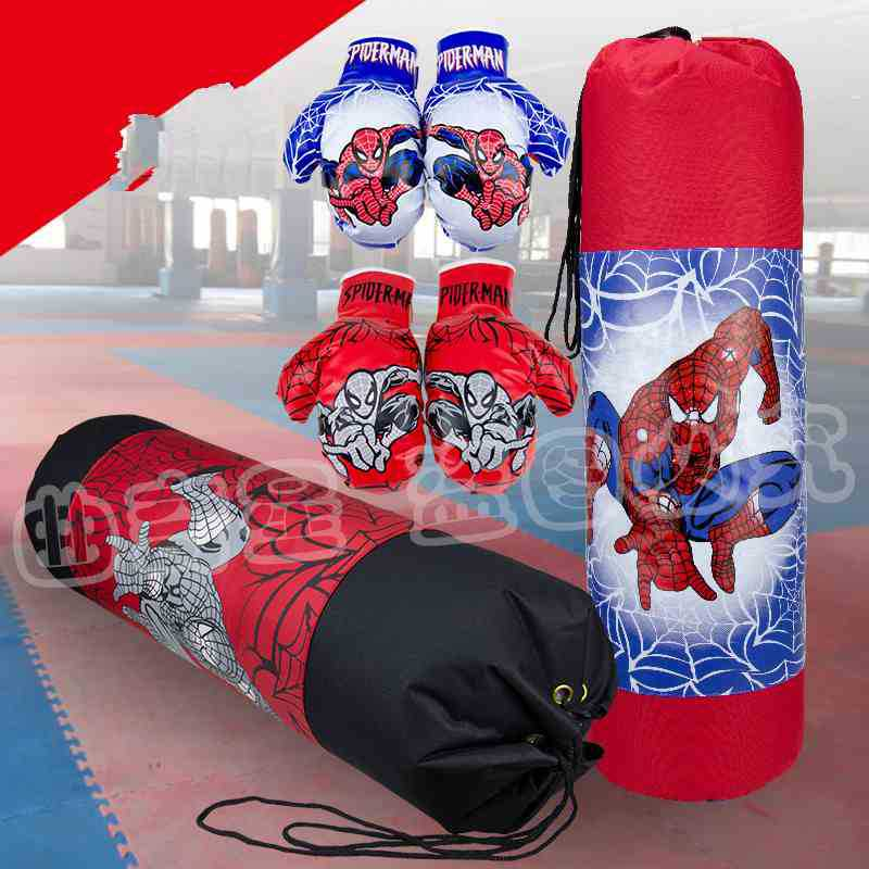 Empty And Boxing Gloves Set Children kids canvas spider-man boxing Punching Bag