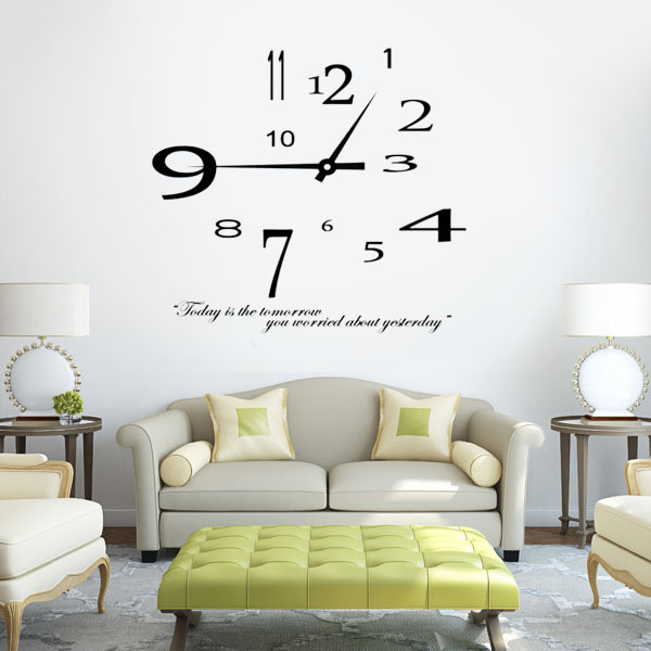 Removable modern design clock wall sticker home decoration wall clock sticker living room decor vinyl stickers wall decals quote in wall stickers from home