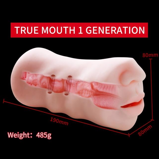 OMYSKY Realistic Male Masturbator Aritificial Vagina Pocket Deep Throat With Tongue Suck Realistic Pussy Oral Sex Toys for Men 5