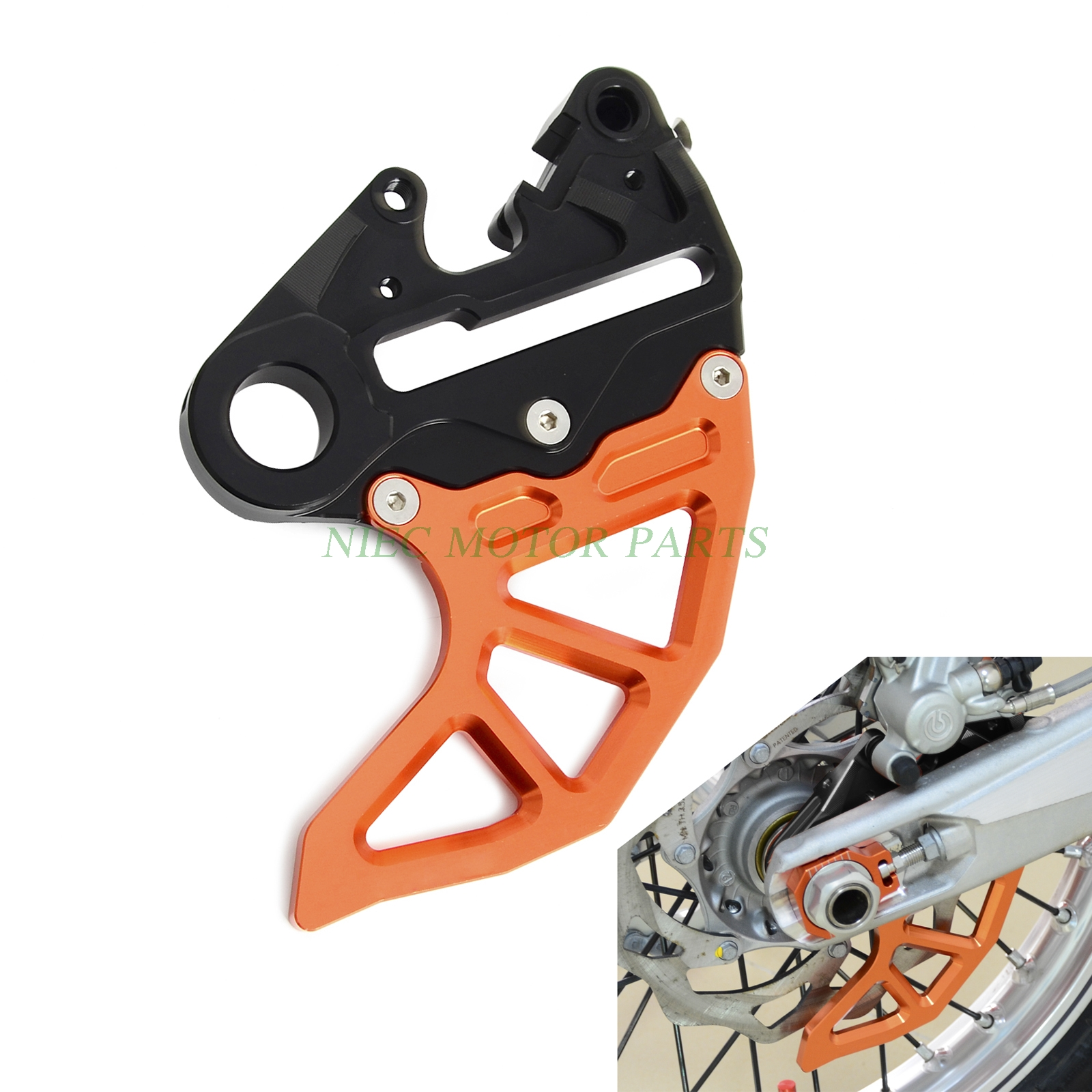 Billet CNC Rear Brake Disc Guard W/ Caliper Bracket for KTM 125-450 SX/SX-F/SMR/XC/XC-F 2013 2014 2015 2016 billet cnc rear brake disc guard w caliper bracket for ktm 125 450 sx sx f smr xc xc f 2013 2014 2015 2016
