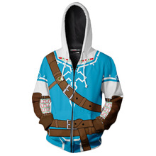The Legend of Zelda Cosplay Link 3D Print Hoodie Long Sleeve Sweatshirt Zip Up Men