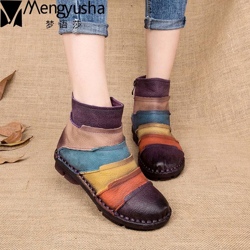 Divat Martin csizma Valódi bőr boka cipő Vintage Retro alkalmi cipő vadonatúj csíkos színes kézzel készített női őszi csizma