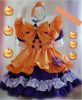 Cute Girls Japanese Maid Dress Holloween Party Pumpkin Feel Bows Lolita Cosplay Costume
