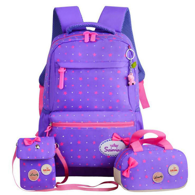 Fashion Large capacity 3pcs/set Children School Bags for Girls School Backpack Student book bag Cute Bow shoulder schoolbag 16 inch anime teenage mutant ninja turtles nylon backpack cartoon school bag student bags double shoulder boy girls schoolbag