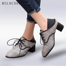 plus size 34-43 Spring Autumn New Plaid Canvas Women Pumps Square High Heel Toe Fashion Lace Up Shoes Zapatos Mujer