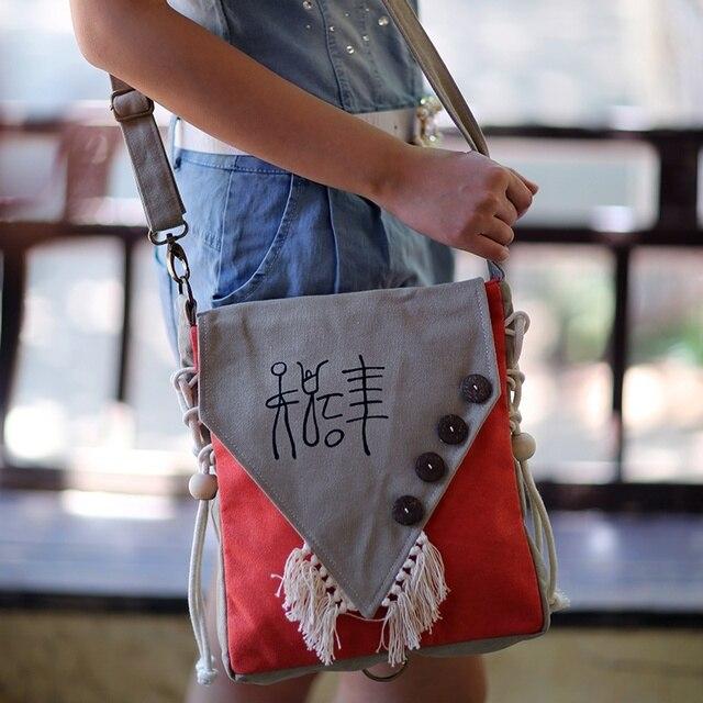 Women Fringed Retro Crossbody Handbag Canvas Messenger National Dongba Character Handmade Shoulder Ethnic Girl Casual Hand Bag