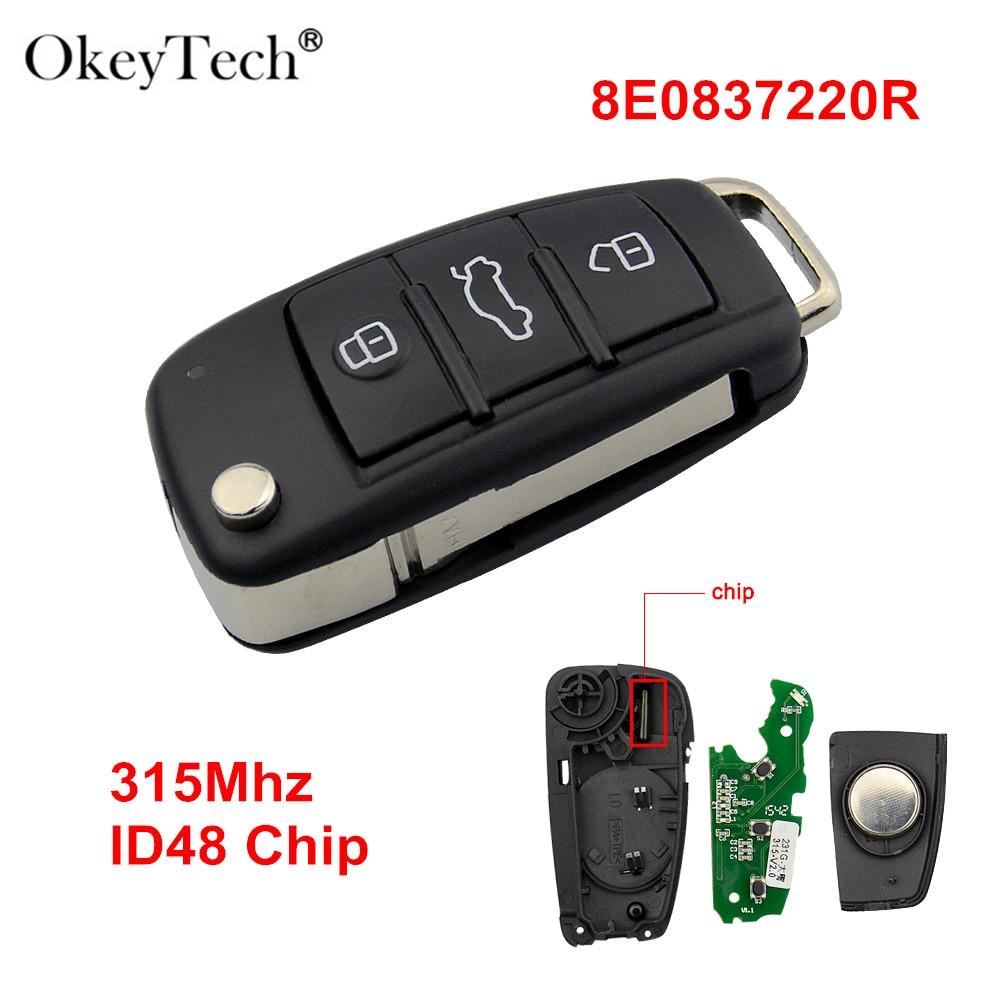 Okeytech 3 boutons sans clé entrée Flip voiture pliante clé à distance pour Audi A6 A6L 315 mhz ID48 puce 8E0837220R