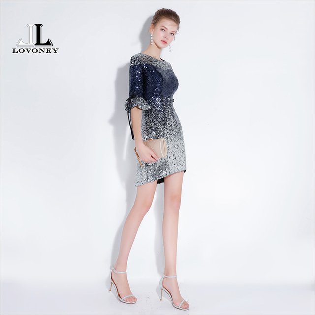 d921c7bbe132 € 99.66 |LOVONEY YS430B Sexy Mini vestidos cortos 2019 nuevo diseño  lentejuelas Prom vestido de fiesta de las mujeres ocasión vestidos media  manga ...