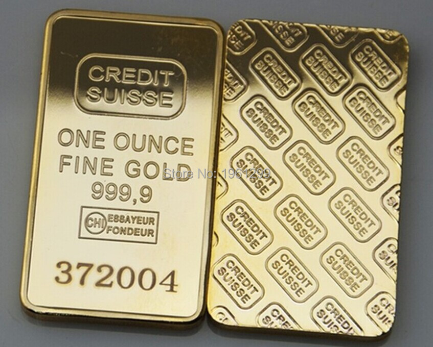 Laser Numer Credit Suisse Gold Bar 1oz 24k Gold Plated