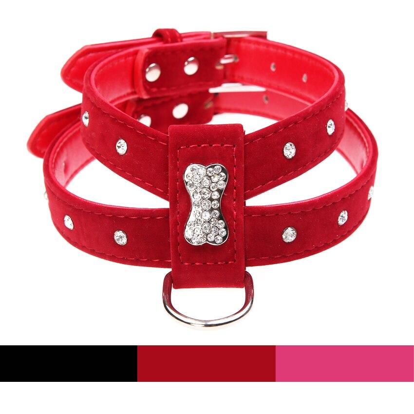 Harnais en velours et cuir strass os   3 couleurs scintillantes, harnais pour chien chiot, collier Chihuahua soins pour chien moyen