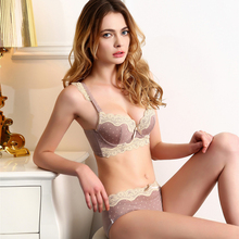 2017 June New Arrived 3/4 Cup Bra Set Underwire Sexy Lace Push Up Back Closure Convertible Straps Free Shipping