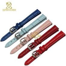 Cuero genuino pulsera para mujer de moda correa de reloj de pulsera banda multicolor pequeño reloj correa 10 12 14 mm rosa azul rojo color