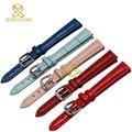 Pulseira de couro genuíno da forma das mulheres pulseira relógios de pulso banda multicolor pequeno relógio de pulseira 10 12 14 mm rosa cor vermelha azul