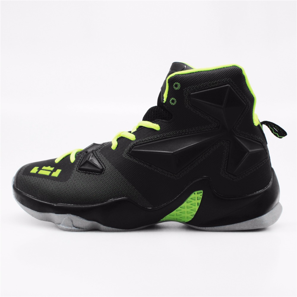 Men's High Quality Sneakers Black Green Basketball Boots Outdoor Basketball Shoes #FBS2000G цена
