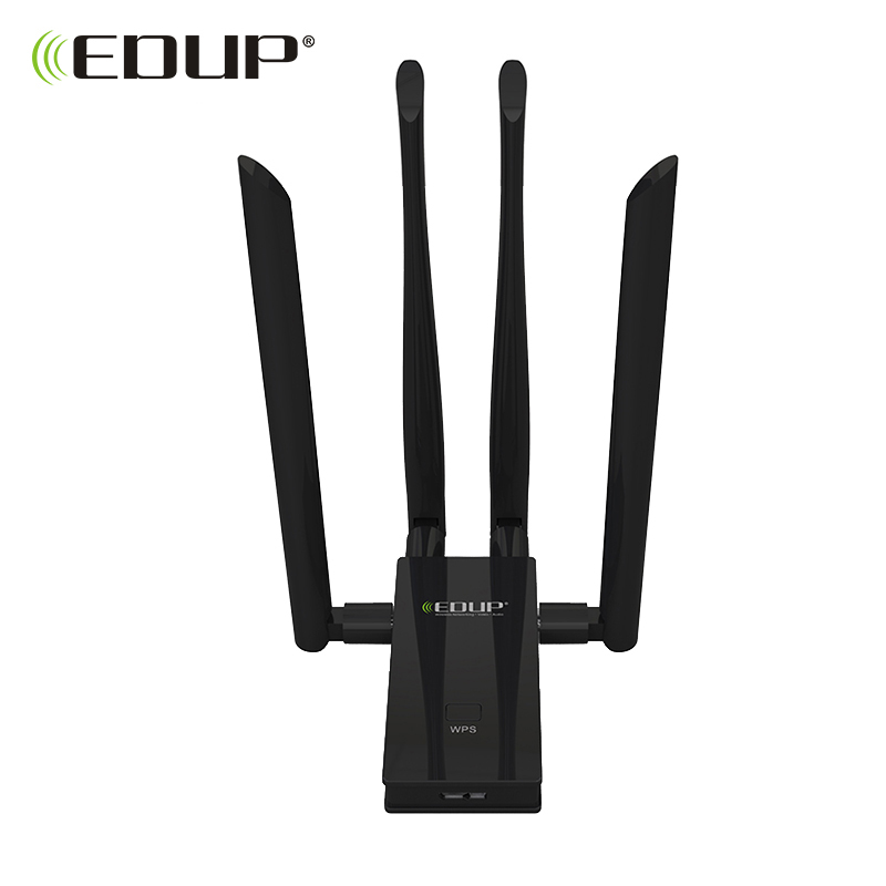 EDUP 5GHz usb wi-fi adapter 1900mbps 802.11ac long distance wifi receiver 4*6dBi antennas Dual Band USB 3.0 Ethernet Adapter edup ep ms8515gs wireless usb adapter 2 4ghz 150mpbs 802 11 b g n wlan wi fi network card with double 6dbi antennas black