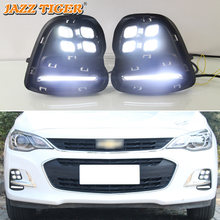 JAZZ TIGER 2PCS Turn Yellow Signal Function 12V Car DRL LED Daytime Running Light Fog Lamp For Chevrolet Cavalier 2016 - 2018(China)