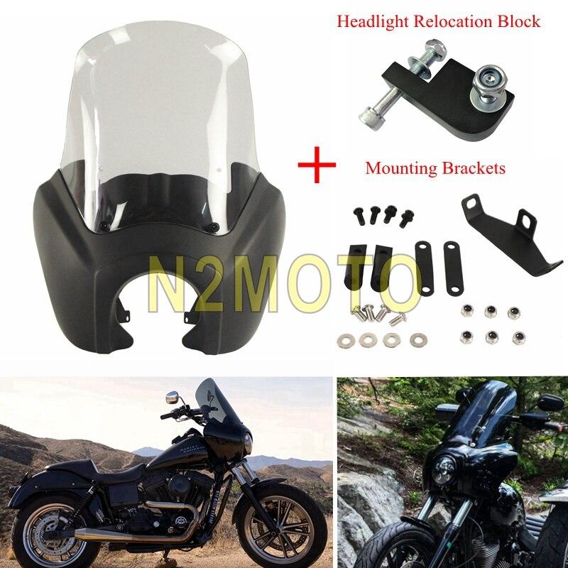 6 Color Retro Headlight Fairing w Smoke Windshield Windscreen Kit For Harley Dyna Street Bob Wide