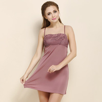 Ladies Knitted Silk Embroidery Skirt Sling Home Leisure 100% REAL Silk Nightgown Sleepwear Long Camisoles