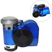 12V 139dB Car Dual Air Horn Auto Snail Trumpet lacquer Blue for Vehicle Motorcycle Yacht Boat SUV