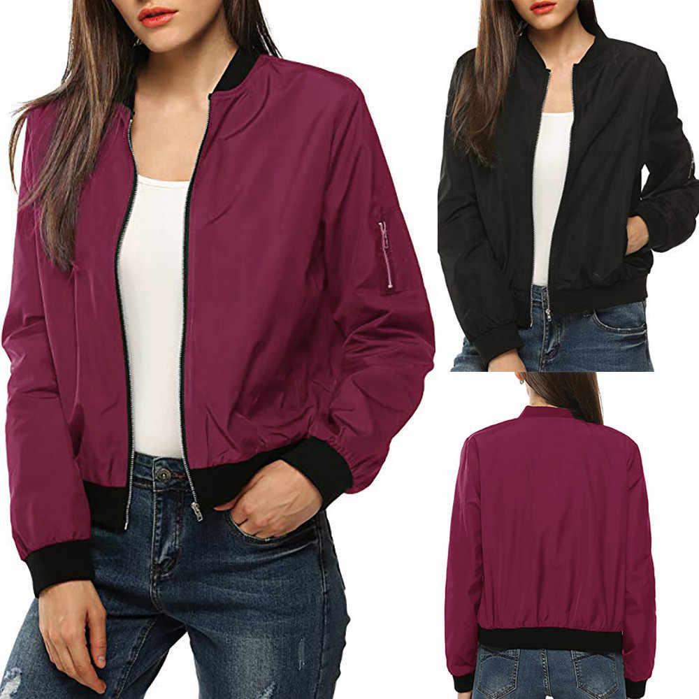 Feitong весенне-осенняя куртка для женщин, классическое пальто, короткий Бомбер, однотонная куртка на молнии, пальто, черный, красный цвет, для женщин, топы mujer/PT