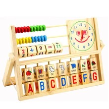 Children Multifunctional Smiley Clock Calculation Frame Wooden Toy Puzzle Early Infant Animal Cognition Letters