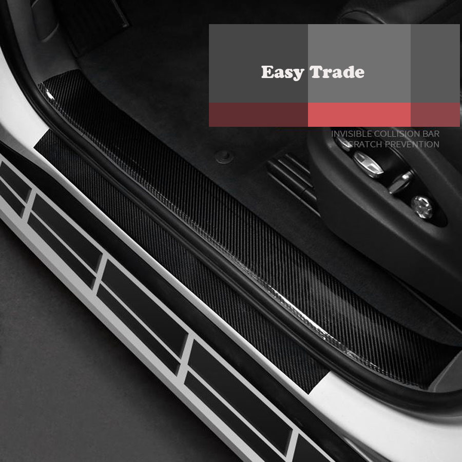 Car styling Carbon Fiber Rubber Door Sill Protector Goods For Toyota VIOS accessories 2018 2019 Car Interior Accessories in Interior Mouldings from Automobiles Motorcycles